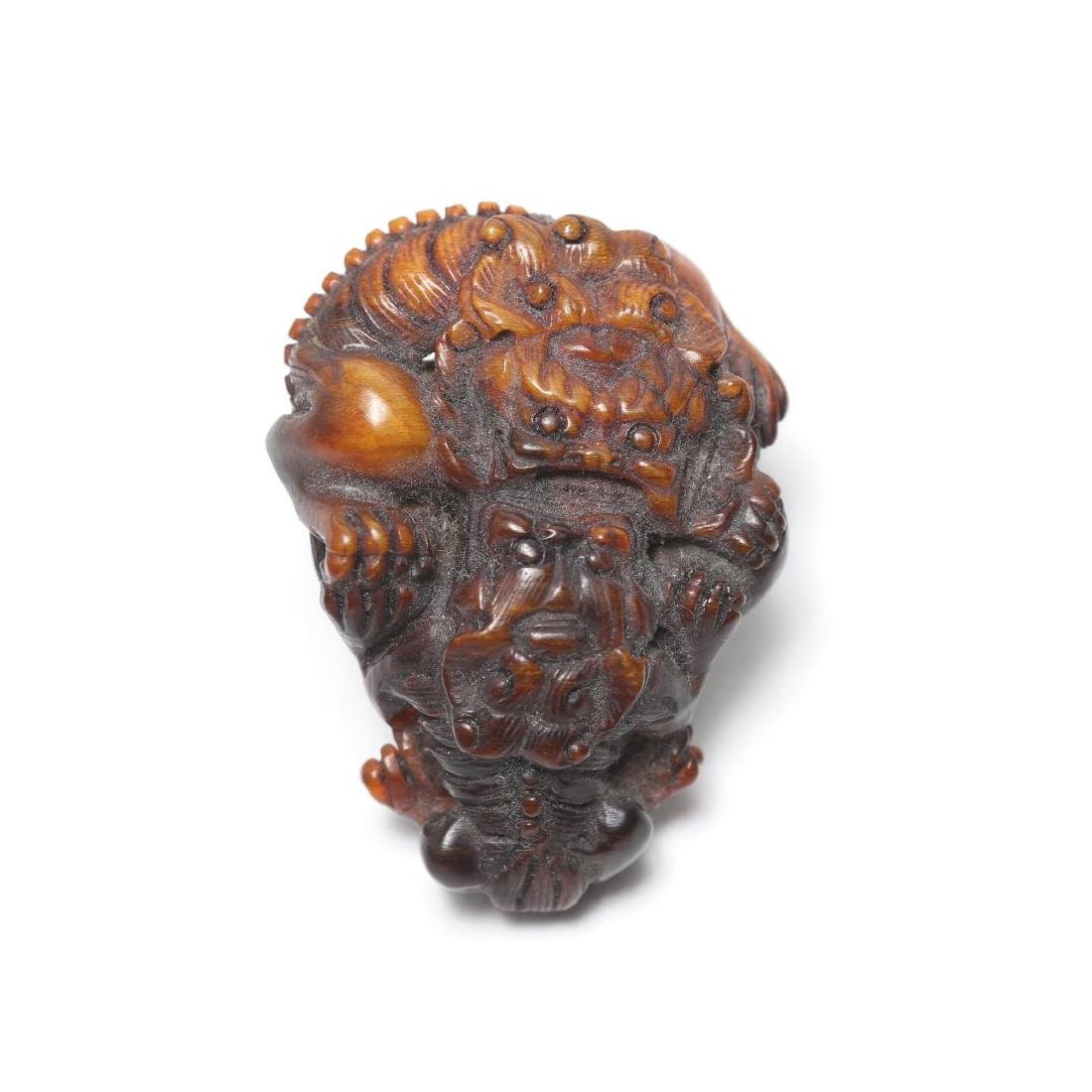 Chinese Carved Horn Clothing Toggle, Dueling Lions