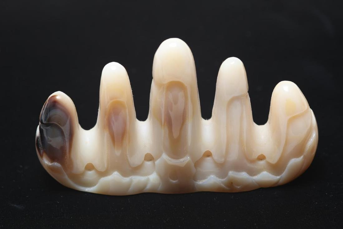 Chinese Agate Brush Rest, Mountain-Form