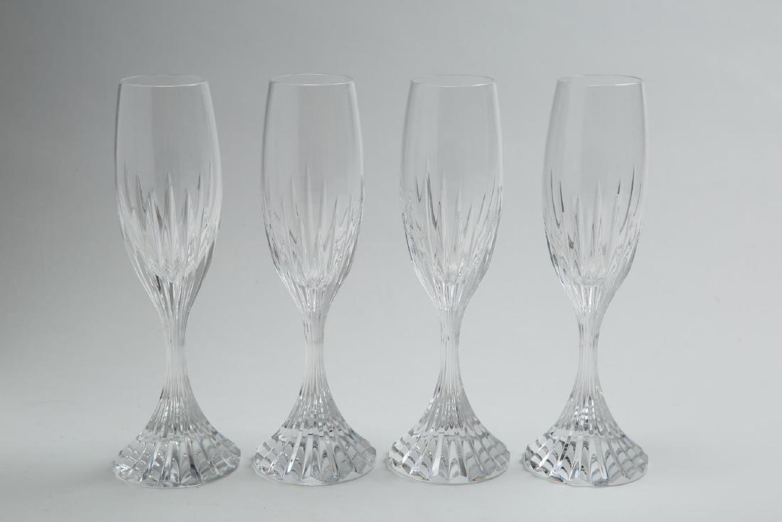 "Baccarat Crystal ""Massena"" Champagne Flutes, 4"