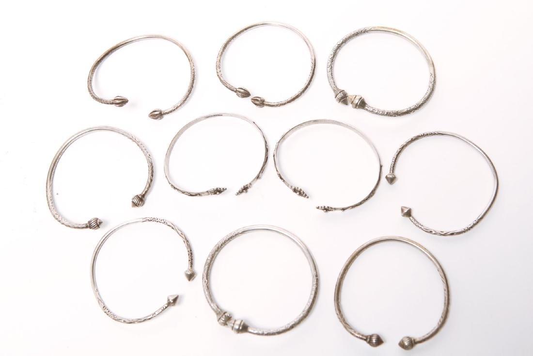 Silver Bangle Bracelets, 10 Assorted inc. Trinidad