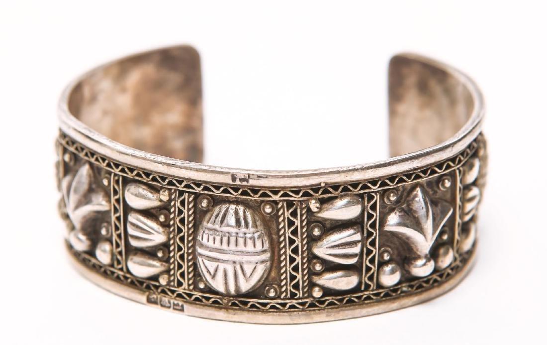 Egyptian Silver Cuff Bracelet, w. Scarab Motif