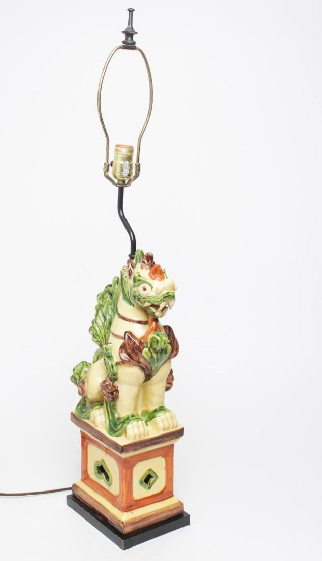 Asian Qilin Table Lamp, Enamel-Glazed Ceramic