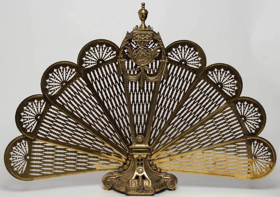 Edwardian Peacock Fireplace Screen, Folding Metal