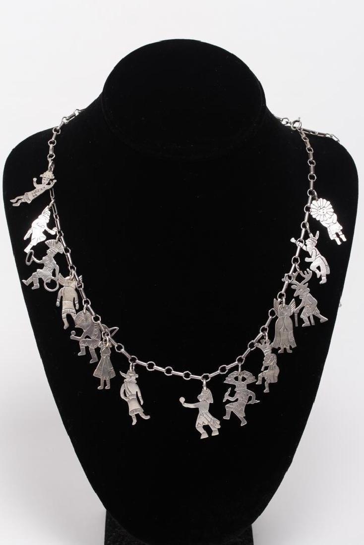 Hopi Silver Charm Necklace, Native American Indian