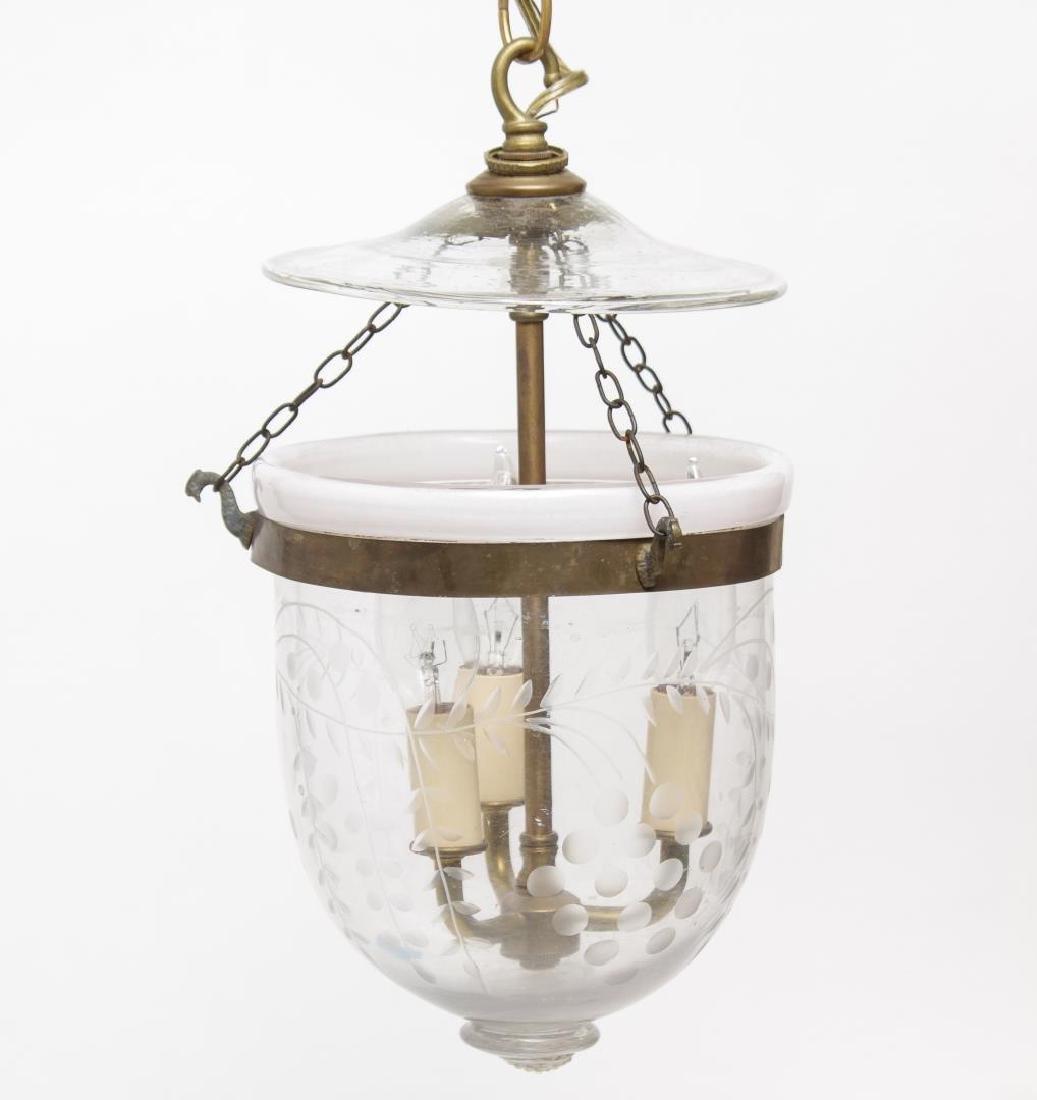 Cloche Lantern, Incised Glass Bell Jar