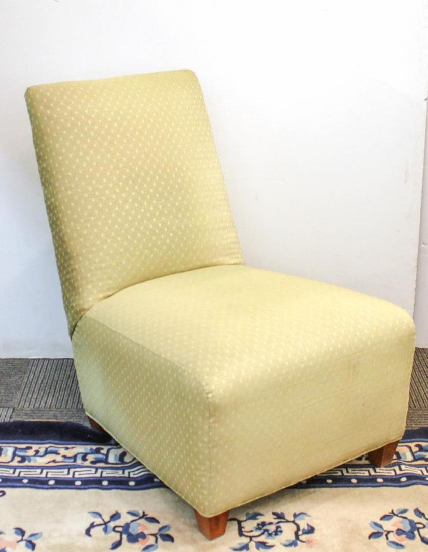 Slipper Chair, Green-Upholstered with Slant-Back