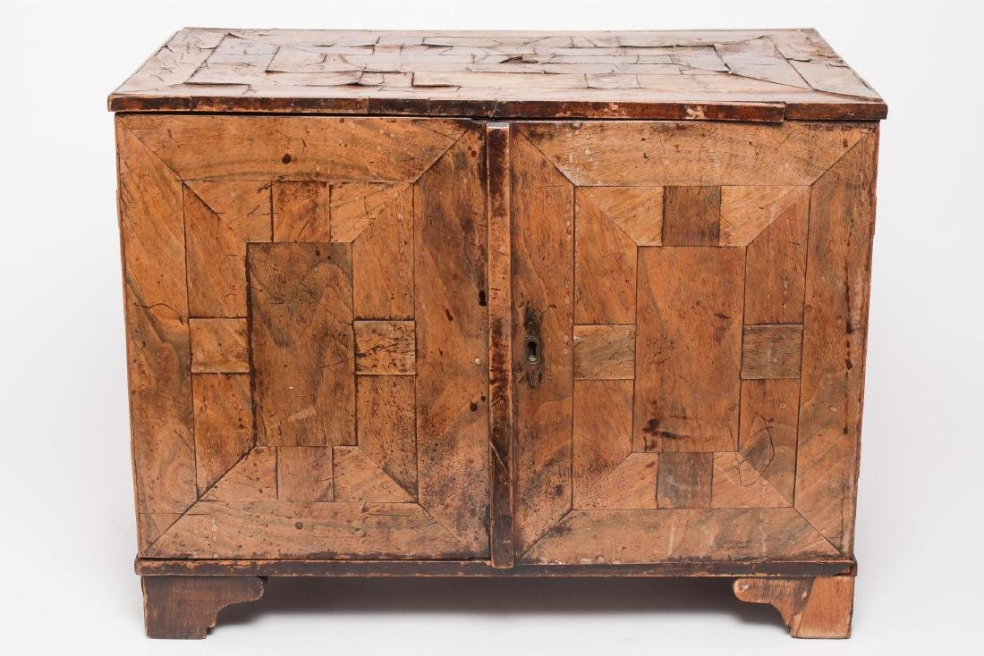 Antique Spice Cabinet, Parquetry Wood, Continental