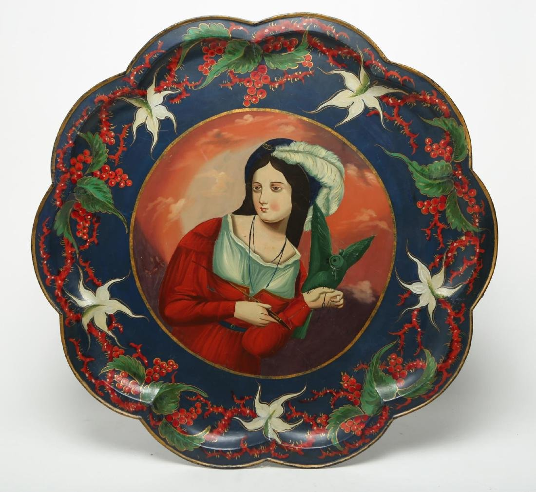 Russian Tole-Painted Serving Tray or Platter