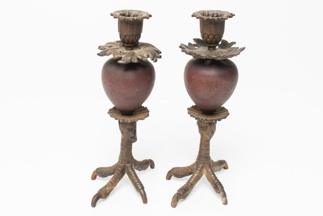 Claw Talon Foot Candle Holders, Cast Iron