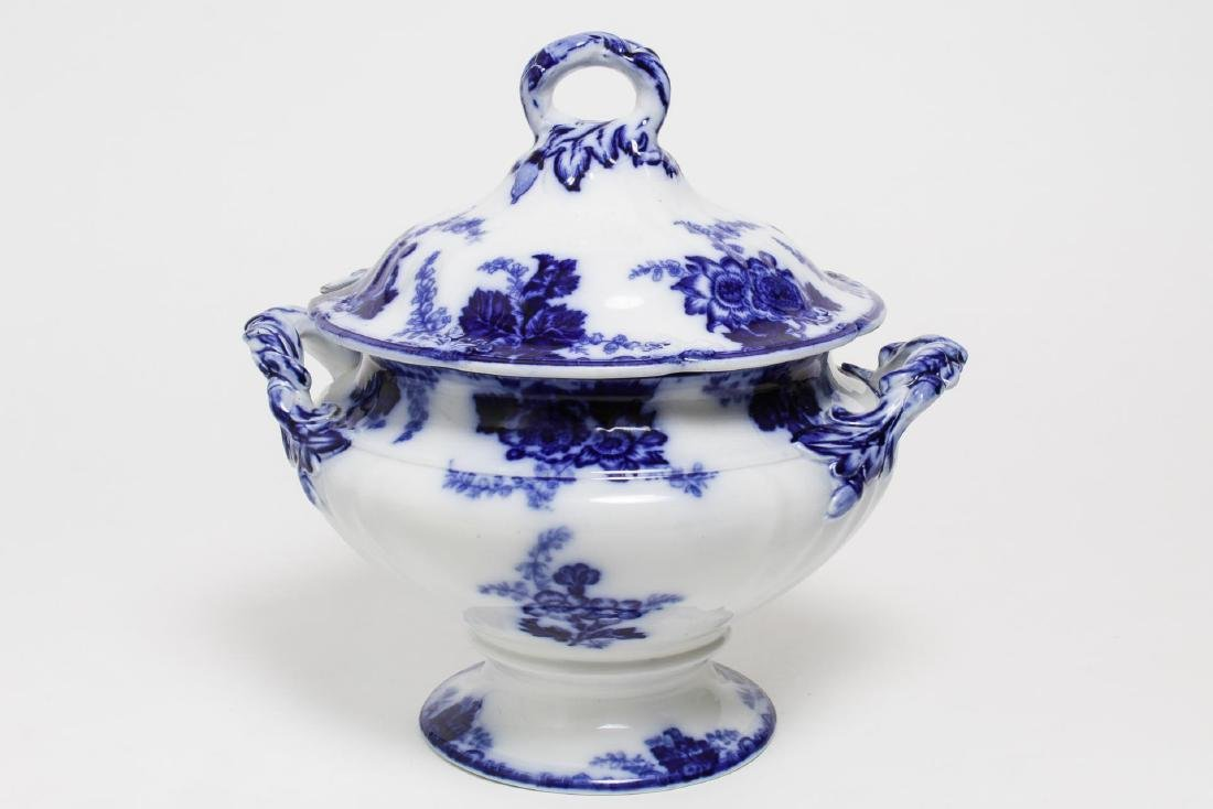 English Flow Blue Porcelain Transferware Tureen
