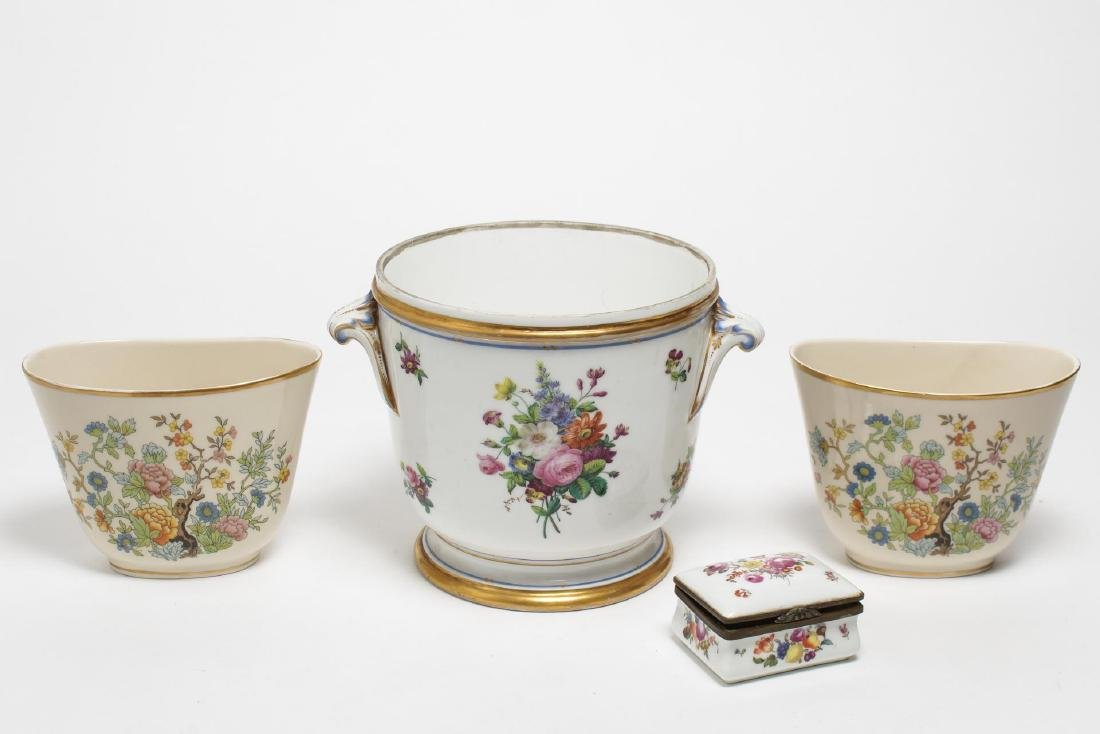 Continental Porcelain Items, 4 Floral-Decorated