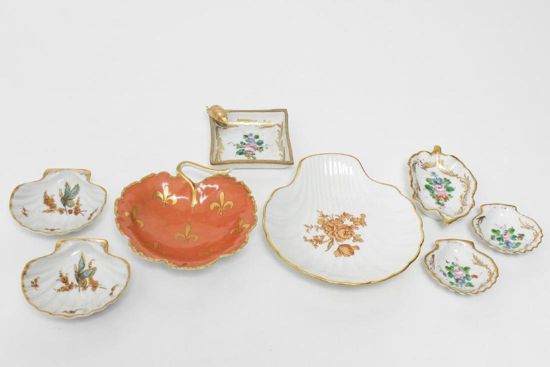 Limoges Porcelain Dishes, Hand-Painted, Group of 8