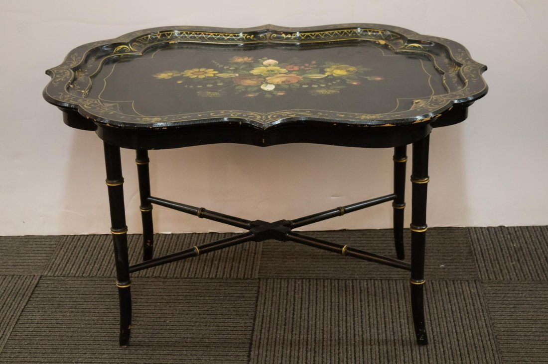Victorian Ebonized Wood Mother-of-Pearl Tray Table