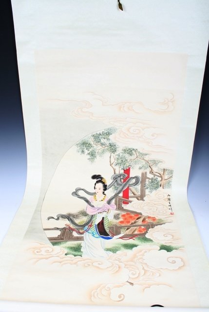 9: 20th C Chinese Scroll Painting of Beauty & Rabbit