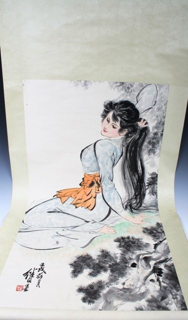 12: 20th C Chinese Scroll Painting of a Beauty