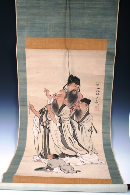14: 19th-20th C Japanese Scroll of Figures