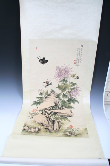 19: 20th C Chinese Flowers & Butterfly Scroll Painting