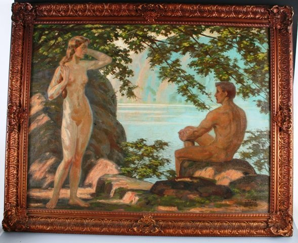 171: Signed Oil on Canvas Nudes by Water c 1920s