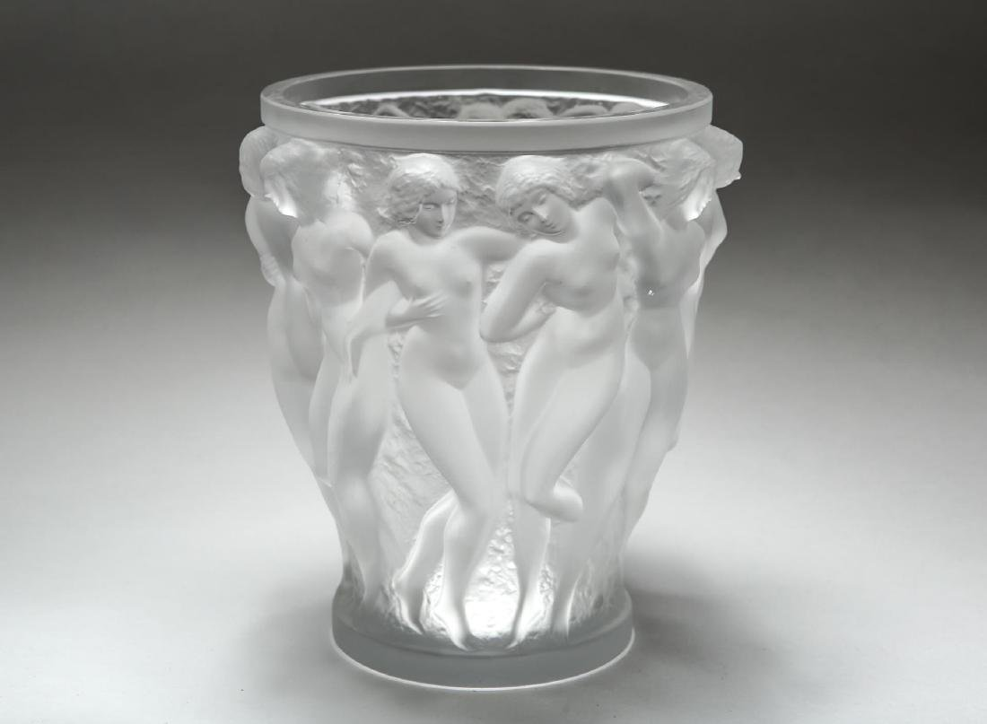 "Lalique ""Bacchantes"" Crystal Vase, Satin-Frosted"