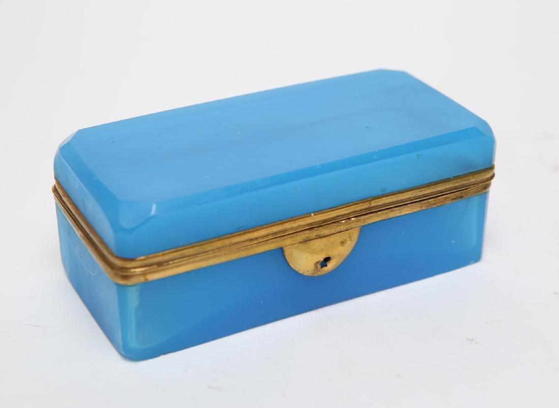 French Art Deco Glass Box, Opaline Blue & Ormolu