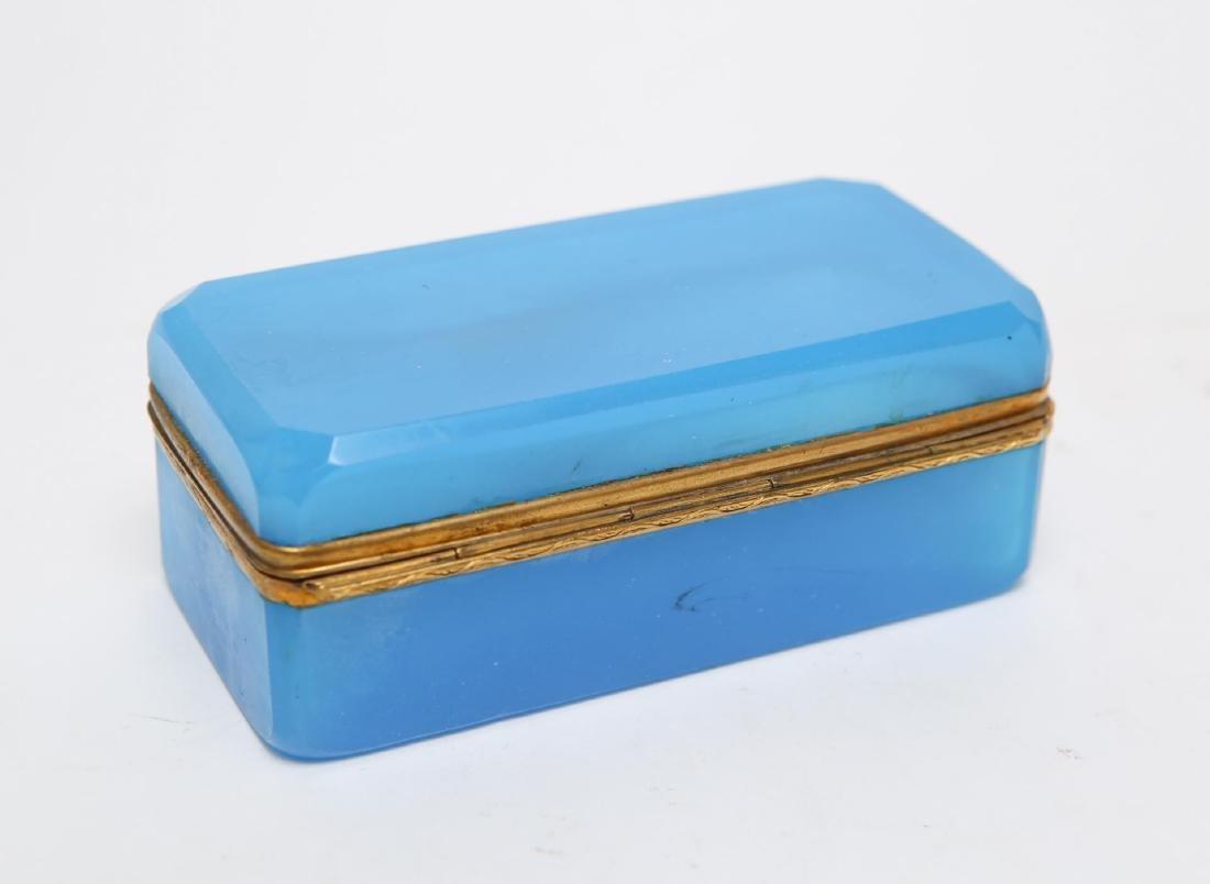 French Art Deco Glass Box, Opaline Blue & Ormolu - 2