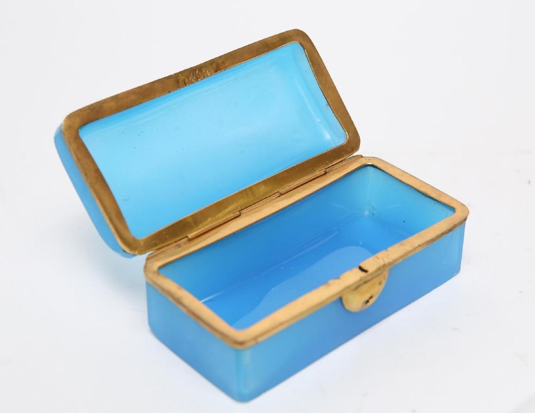 French Art Deco Glass Box, Opaline Blue & Ormolu - 3