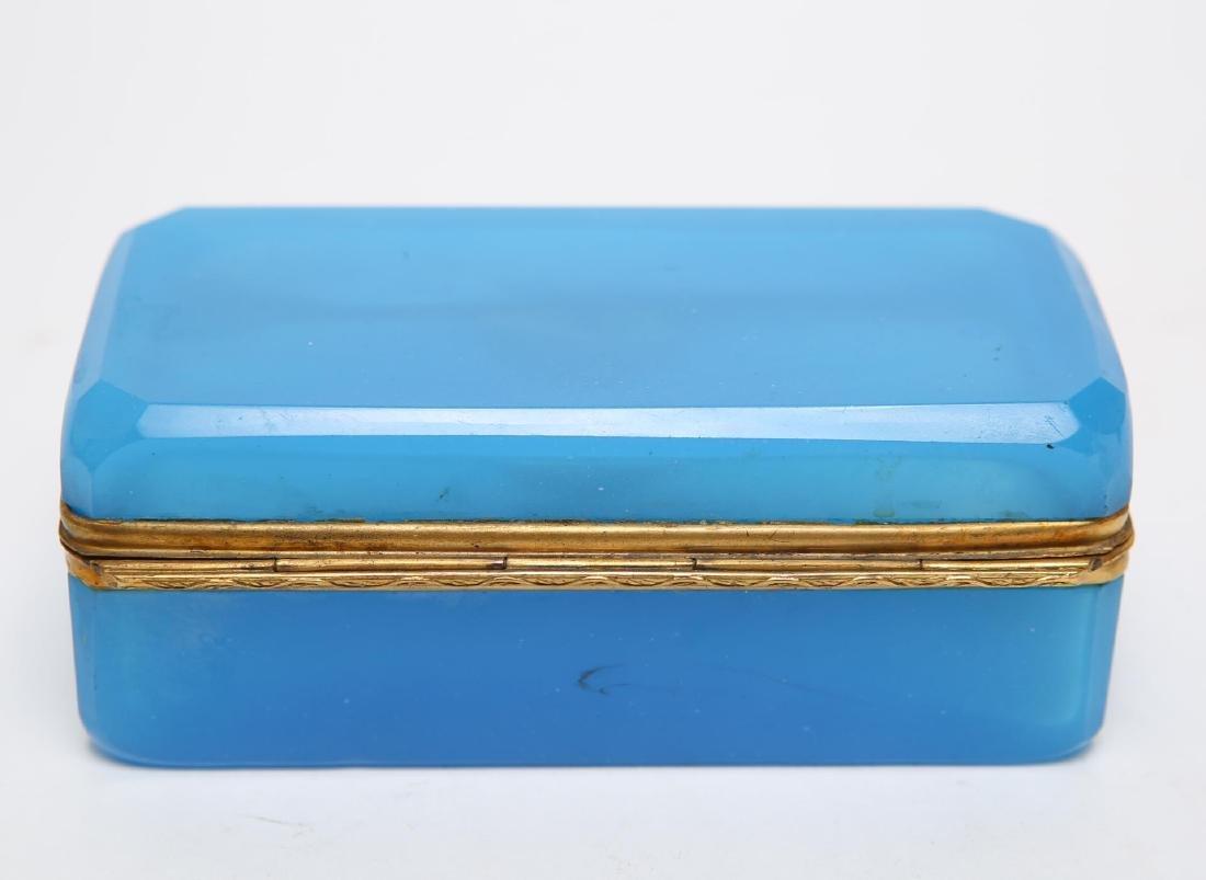 French Art Deco Glass Box, Opaline Blue & Ormolu - 4