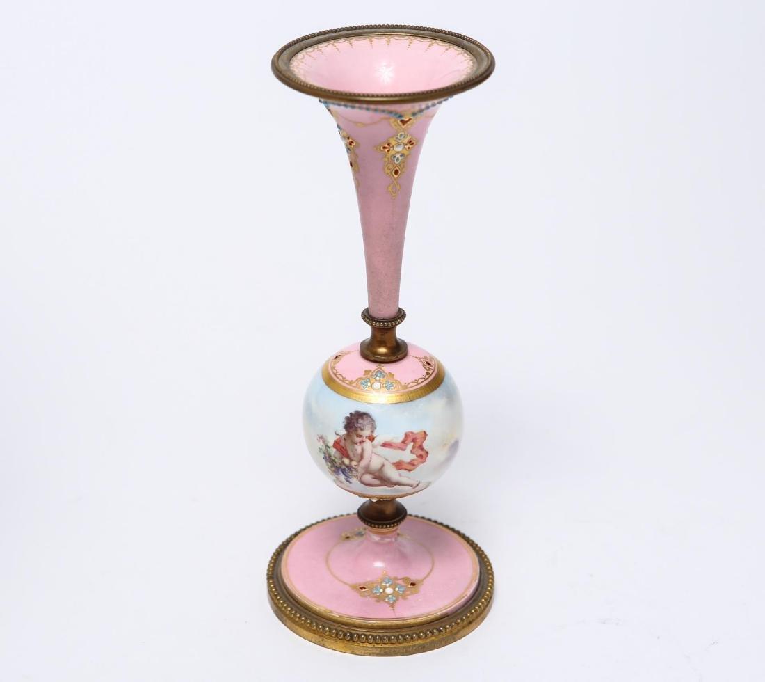 Sevres-Manner Porcelain, Enamel & Ormolu Vase