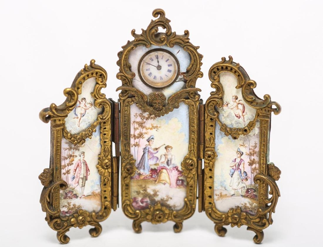 French Rococo-Manner Screen Clock, Antique Enamel