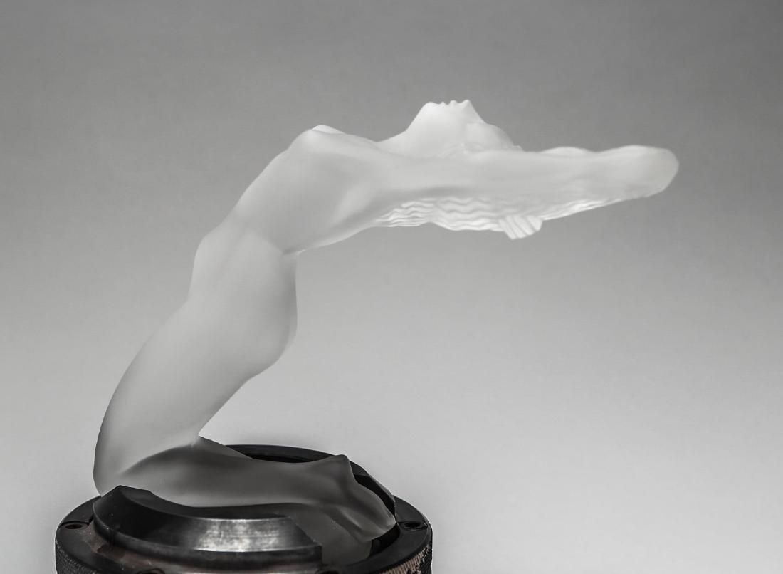 "Lalique Glass ""Chrysis"" Car Mascot Hood Ornament - 6"