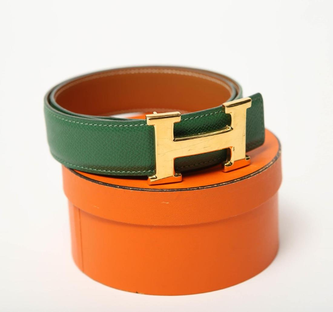 Hermes Belt, Green Leather, Woman's