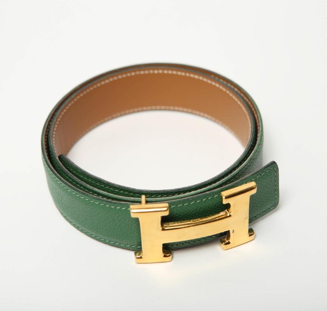Hermes Belt, Green Leather, Woman's - 3