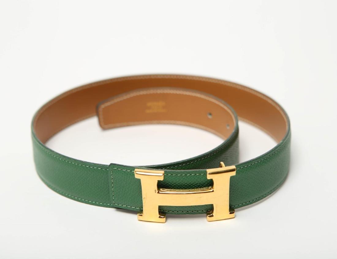 Hermes Belt, Green Leather, Woman's - 5