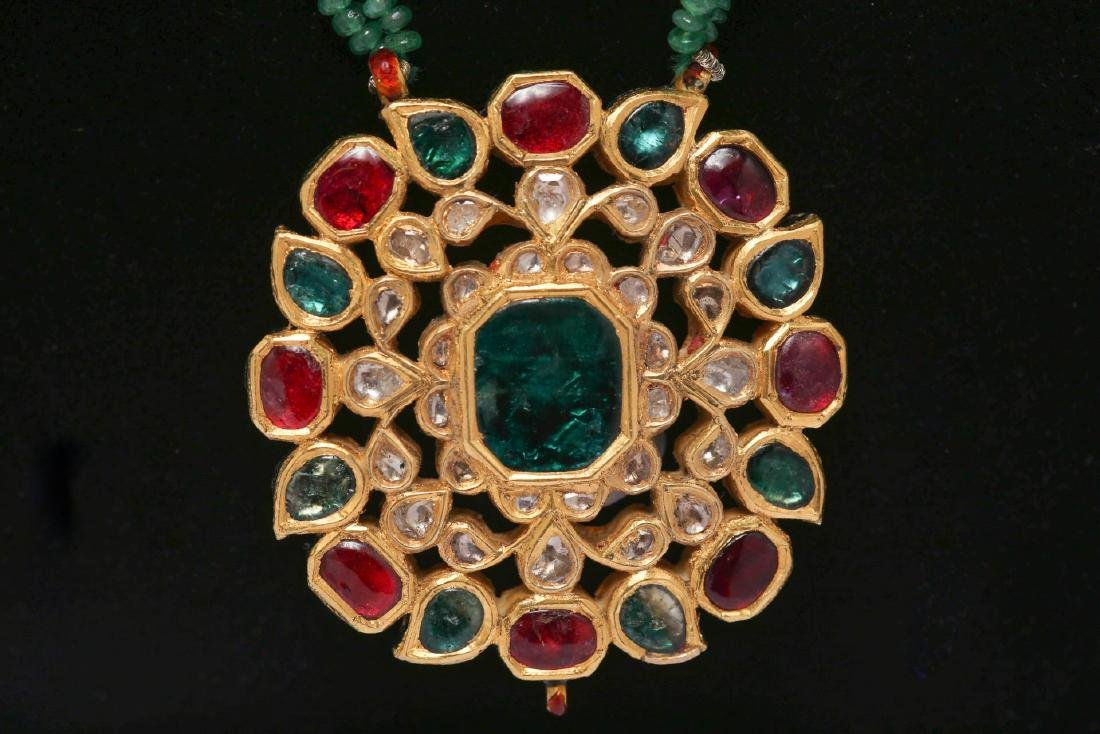 Indian Gold Pendant with Diamonds & Gems, Enameled - 2