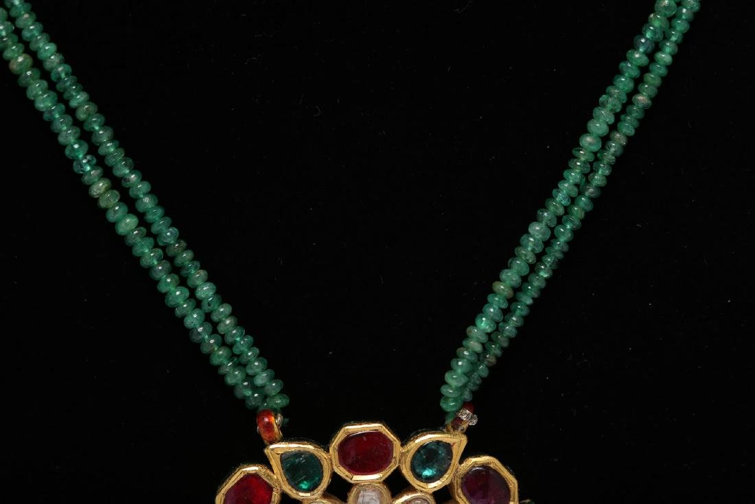 Indian Gold Pendant with Diamonds & Gems, Enameled - 4
