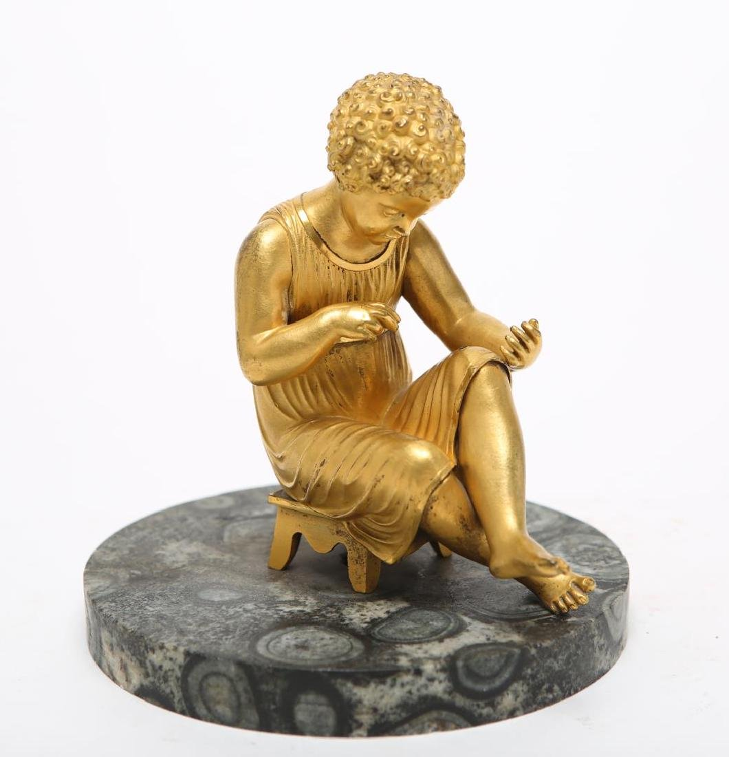 Neoclassical Gilt Bronze Seated Boy Sculpture