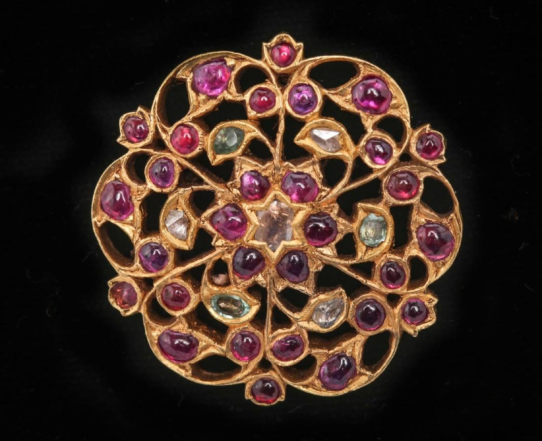 Indian Gold Pendant with Diamond, Ruby, & Emerald