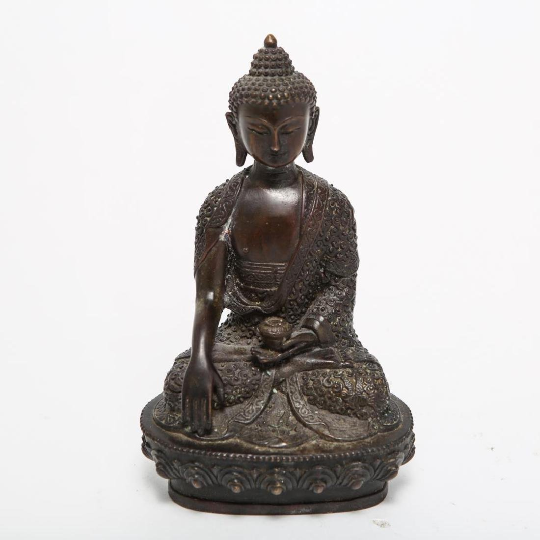 Tibetan Bronze Seated Buddha Sculpture