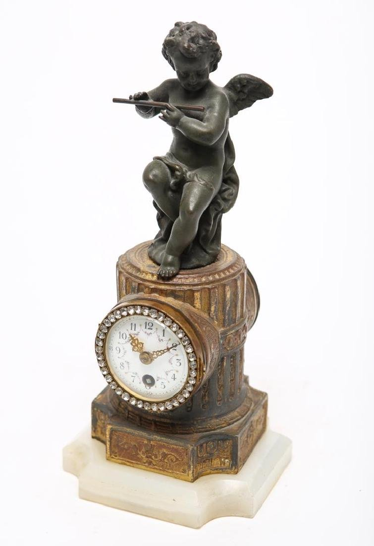 Neoclassical-Manner Gilt Metal Mantel Clock Case