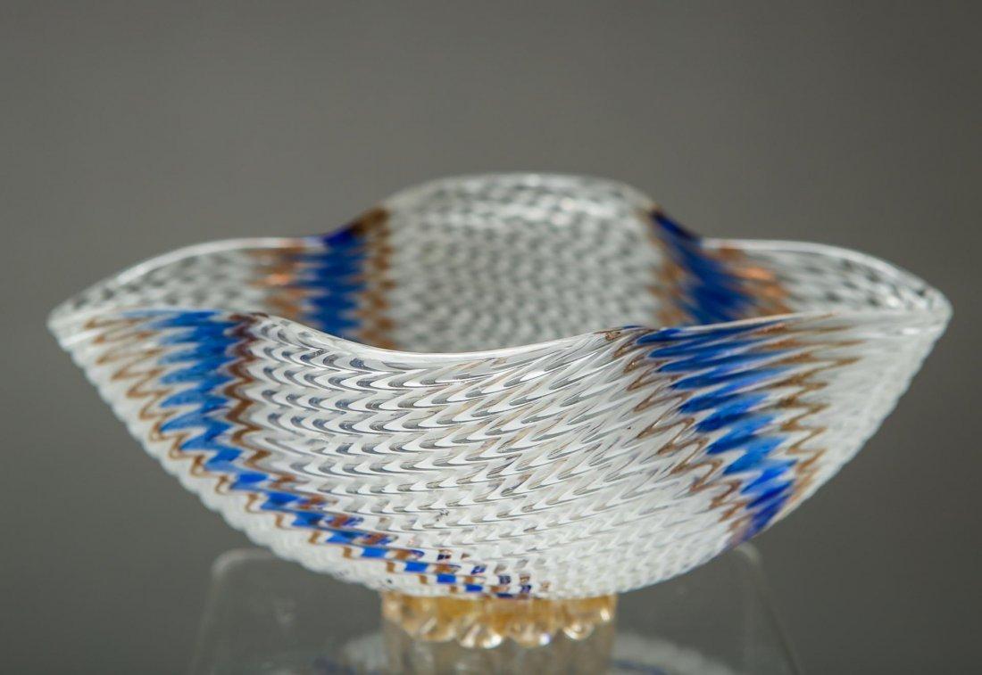 Venetian Murano Glass Bowl, Biomorphic Form