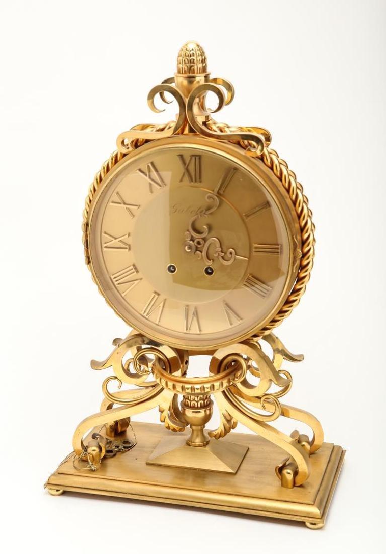 House of Gubelin Mantel Clock, Swiss Gilt Bronze