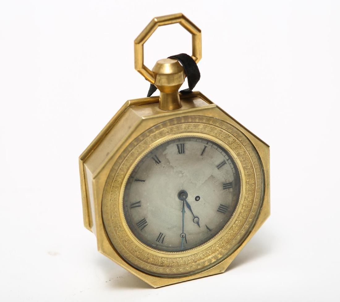 French Desk Clock, Hexagonal Gilt Bronze, 19th C.