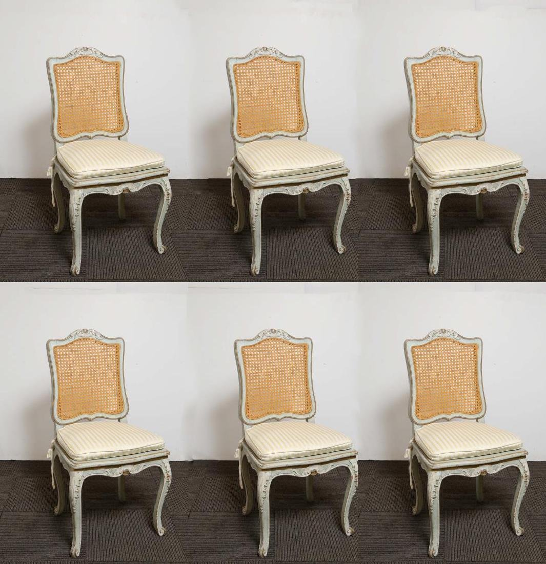 Louis XV-Manner Caned Side Chairs, Set of 6