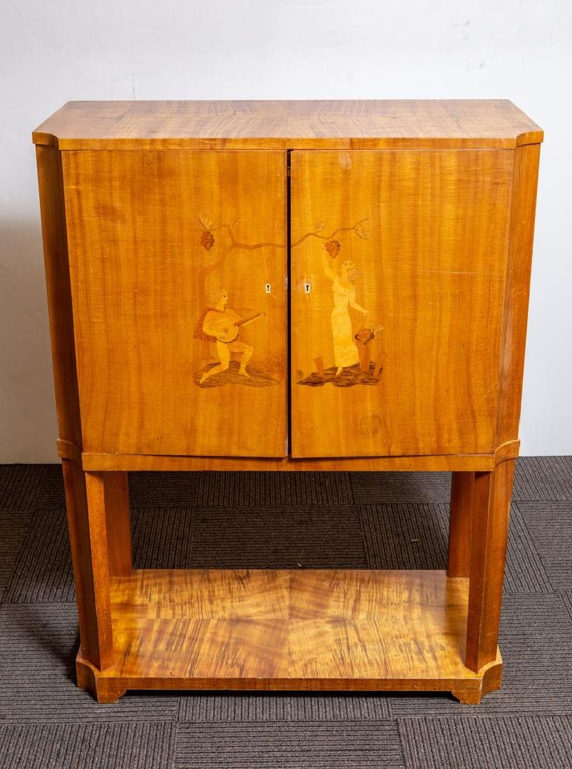 Continental Art Deco Marquetry Bar Cabinet