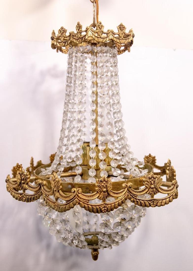 Hollywood Regency Chandelier, Brass & Crystal