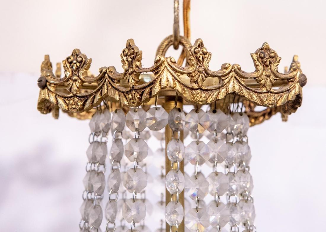 Hollywood Regency Chandelier, Brass & Crystal - 5
