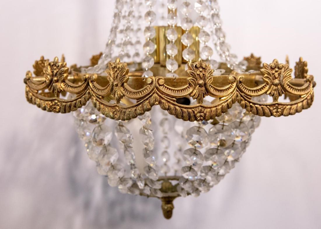 Hollywood Regency Chandelier, Brass & Crystal - 2