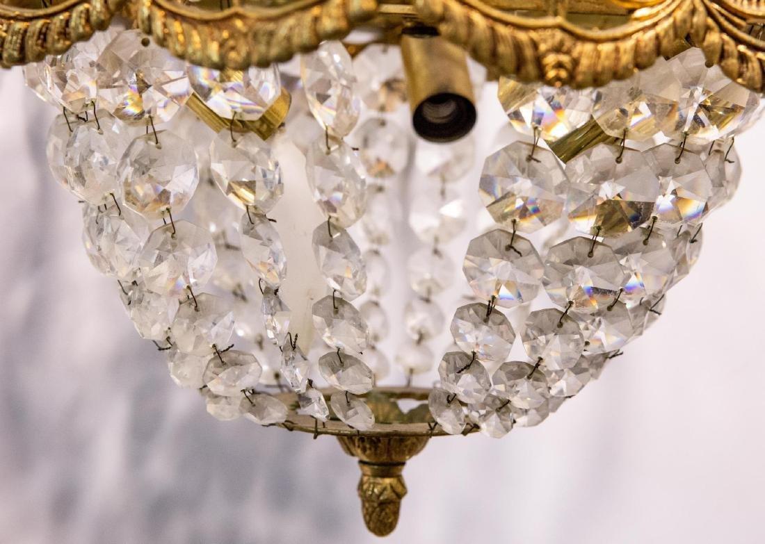 Hollywood Regency Chandelier, Brass & Crystal - 3