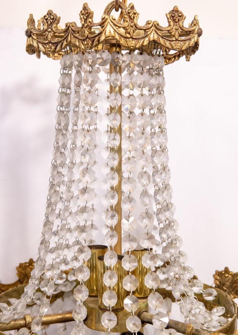 Hollywood Regency Chandelier, Brass & Crystal - 4