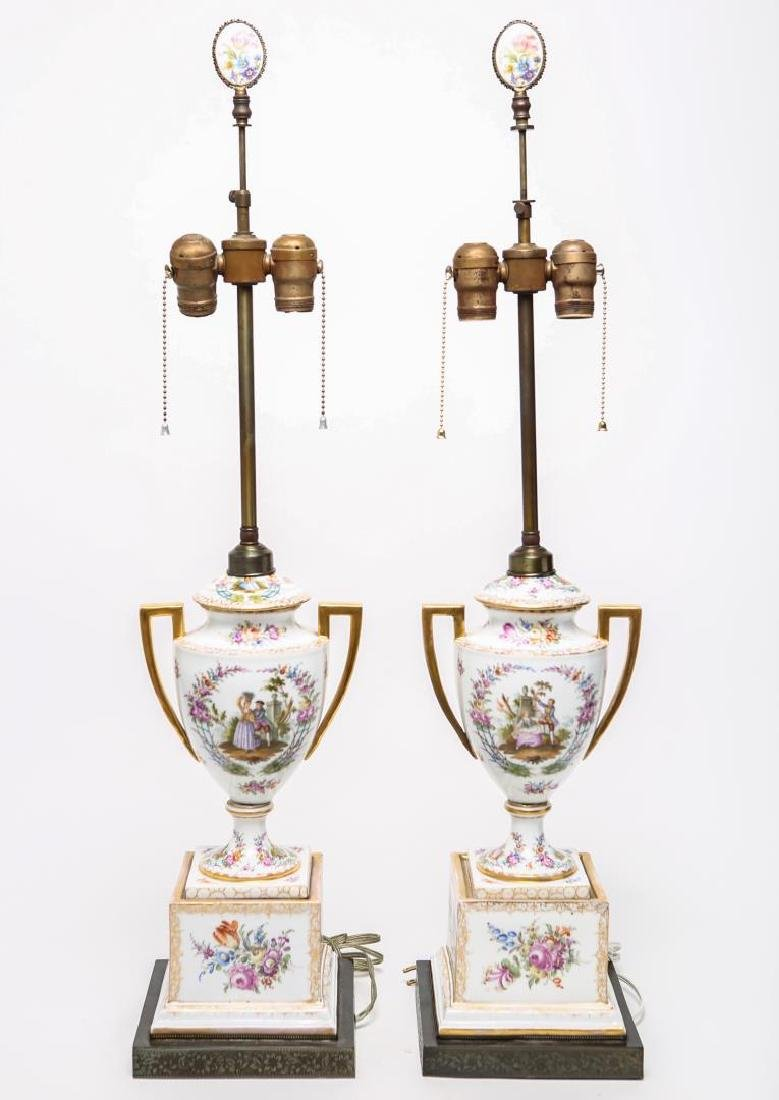 Sevres-Manner Porcelain Urn Lamps, Hand-Painted Pr